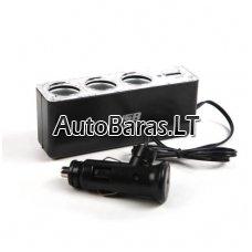12/24V šakotuvas - 3x cigaretinės jungtys ir 1x USB