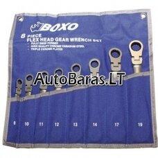 BOXO Colinių terkšlinių raktų su lanksčia galvute rinkinys, 8 vnt.