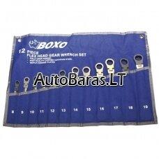 BOXO Terkšlinių raktų su lanksčia galvute rinkinys, 12 vnt.