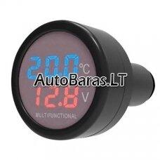 K27 daugiafunkcinis USB įkroviklis 2.1A  - rodo akumuliatoriaus įtampa ir temperatūrą automobilyje
