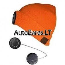 K27 Išmanioji kepurė su LED šviestuvu, bluetooth ausinėmis ir laisvų rankų įranga. Oranžinė.