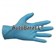 Mėlynos vienkartinės nitrilinės darbo pirštinės atsparios cheminėms medžiagoms L  - 100vnt