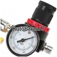 Pneumatinės įrangos oro slėgio / srauto reguliatorius su manometru