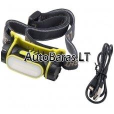 Prožektorius COB LED įkraunamas ant galvos su sensoriniu įjungimu/išjungimu