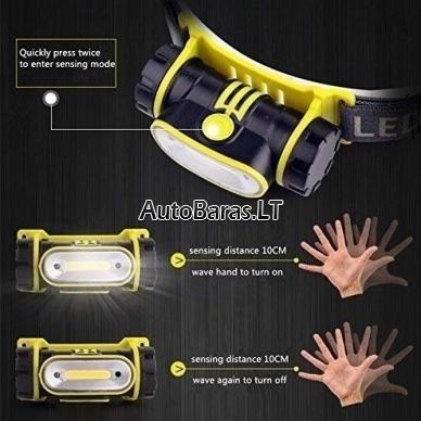 Prožektorius COB LED įkraunamas ant galvos su sensoriniu įjungimu/išjungimu 2