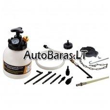 Stabdžių sistemos nuorinimo ir užpildymo įrenginys su adapterių rinkinys