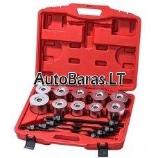 XL TOOLS Rinkinys riebokšlių, guolių, silenblokų montavimui 34-74 mm, 24 vnt, galvanizuotas